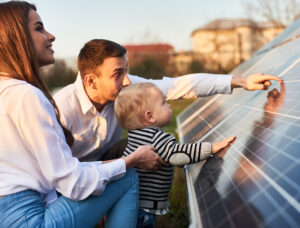 A young family getting to know alternative energy options with Hytech Solar.