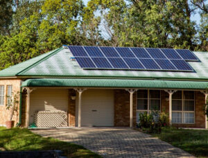 Solar panels on house roof.